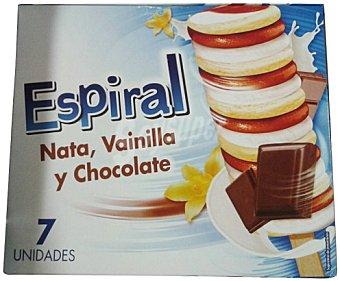 Lacrem Helado espiral nata, vainilla y chocolate CAJA 7 u