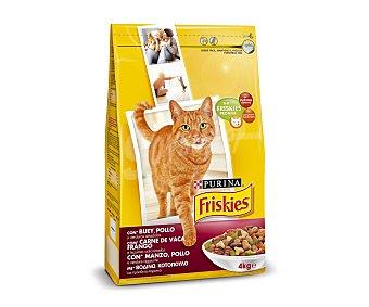 Friskies Purina Comida Seca para Gato Adulto de Buey-Pollo-Hígado 4kg