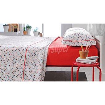 CASACTUAL Jaen Juego de sábanas con topos multicolores y bajera en color naranja