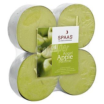 Spaas Velas calientaplatos perfumadas aroma Manzana paquete 4 unidades Paquete 4 unidades