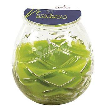 SPAAS Vela exterior de citronella en vaso de cristal color verde