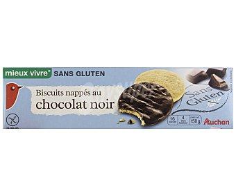 Auchan Galleta con cobertura de chocolate negro sin gluten 150 gramos