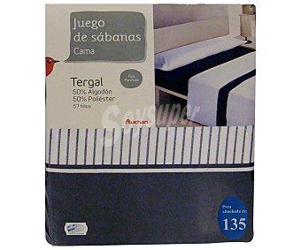 Auchan Juego de sábanas para cama de 135 centímetros con estampado a rayas color azul marino, modelo Tenerife 1 unidad