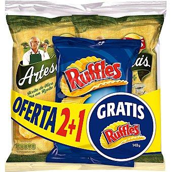 Lay's Artesanas Patatas fritas en aceite de oliva Artesanas pack 2 bolsa 160 g + Ruffles patatas fritas bolsa 140 g Pack 2 bolsa 160 g