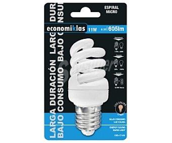 ECONOMIKLAS Bombilla bajo consumo espiral 11 Watios, casquillo E27 (grueso), luz cálida 1 unidad