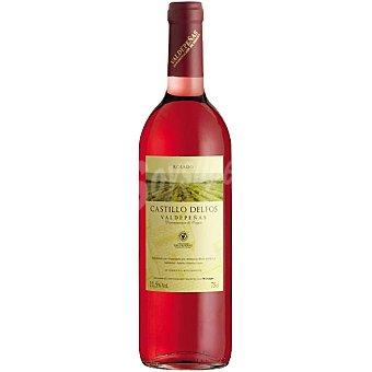 Castillo delfos Vino rosado tempranillo D.O. Valdepeñas elaborado para grupo El Corte Inglés Botella 75 cl