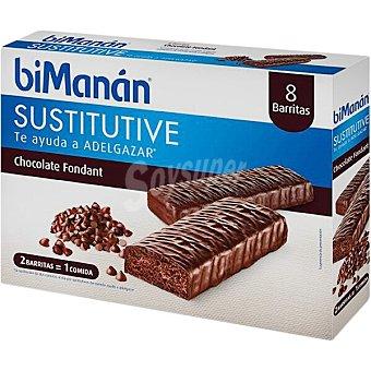 Bimanan Sustitutive barritas sabor chocolate negro fondant Caja 8 unidades
