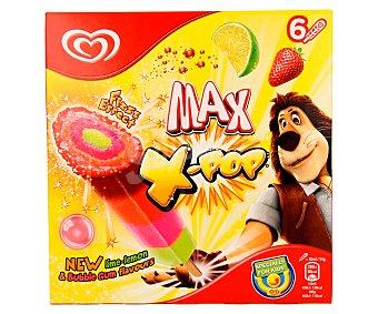MAX X-POP Polo con sabor a lima limón fresa y chicle 6 unidades de 50 mililitros