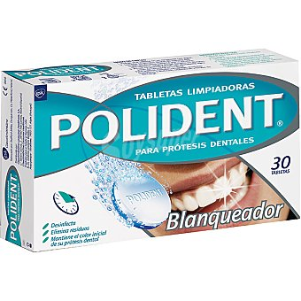 Polident Blanqueador Doble Accion para protesis dentales caja 30 unidades Caja 30 unidades
