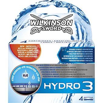 Wilkinson Recambio maquinilla de afeitar Hydro 3 estuche 4 unidades
