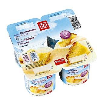 DIA Yogur desnatado con piña Pack 4 unidades 125 gr