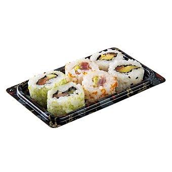 Leroy Sushi roll surtido con pescado crudo (2 atun y 4 salmon) Bandeja 6 u