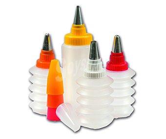 IBILI Set de 4 botellas y 8 boquillas para decoración de repostería, cookies, cupckes.. 1 Unidad