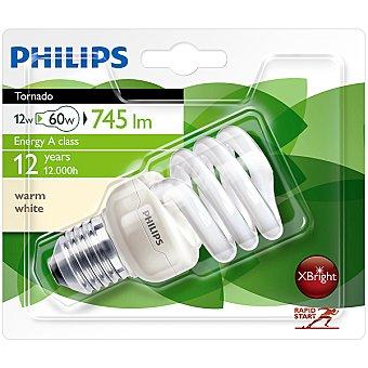 Philips (60 W) lámpara ahorro blanco cálido casquillo E27 (grueso) 220-240 V Tornado 12 W 1 unidad