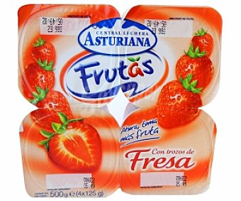 Central Lechera Asturiana Yogur con fresas Pack 4x125 g