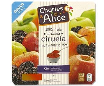Charles & Alice Compota de Manzana-Ciruela sin Azúcar y sin Gluten 4 Unidades de 100 Gramos