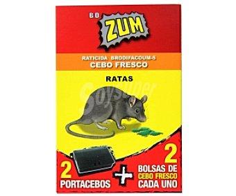 Zum Raticida cebo fresco, 2 portacebos + 2 bolsas de cebo fresco cada uno ZUM 2u