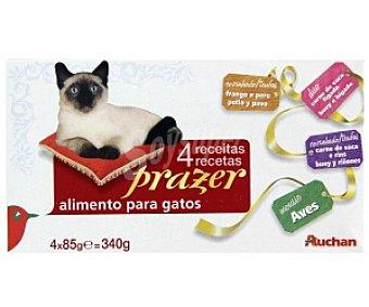 Auchan Camida Húmeda para Gatos. Surtido Carnes 4 Latas de 85 Gramos