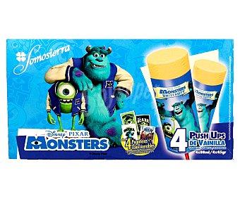 Disney Helado de vainilla push up con pegatinas de la película Monstruos S.A de 4 unidades de 88 mililitros