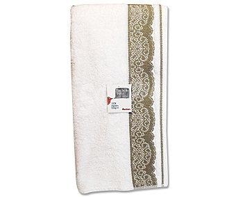 Auchan Toalla de algodón, estampado jacquard color blanco, 100x150 centímetros 1 Unidad