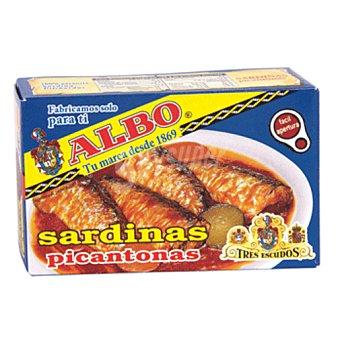 Albo Sardinas en salsa picantona Tres Escudos Lata 85 g neto escurrido