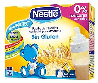 Nestlé Papillas Papilla líquida de cereales con leche sin gluten desde 6 meses Pack 2x250 ml