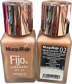 DELIPLUS Maquillaje fluido fijo&cubriente Nº 02 beige claro 1 unidad