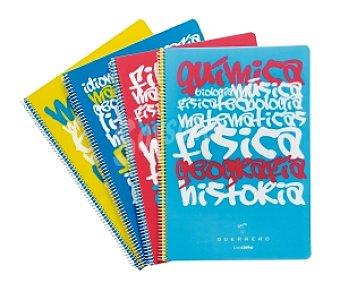 Guerrero Lote de 4 cuadernos DIN A4 con cuadricula de 4x4 milímetros, margen izquierdo, 80 hojas de 80 gramos, tapas de polipropileno de diferentes colores y perforados con encuadernación con espiral metálica 1 unidad