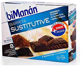 Bimanan Barritas sustitutive chocolate negro fondant 8 ud