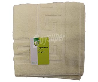 AUCHAN Alfombra de baño rizo 100% algodón, 650 gramos/m², color crema, 50x70 centímetros 1 Unidad