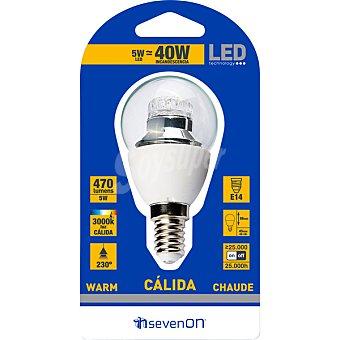 SEVENON 5 W (40 W) lampara LED esferica clara luz calida casquillo E14