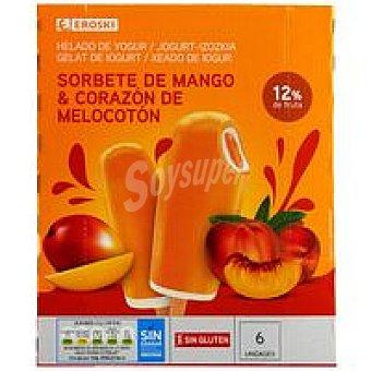 Eroski Sorbete palo de mango-yogur Pack 6x60 ml