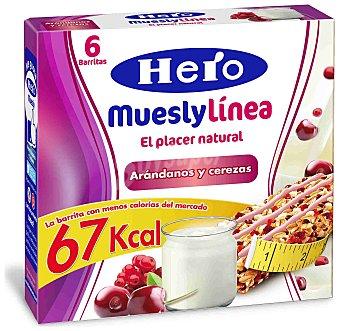 Hero Mueslylínea Barritas de arándanos y cerezas Pack 6x20 g