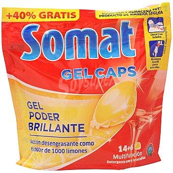 Somat Detergente lavavajillas gel poder brillante concentrado limón Bolsa 14 cápsulas