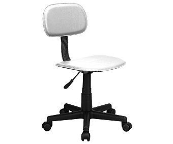 BINEX Silla de escritorio sin brazos regulable de 38 a 45 centímetros, base de 5 ruedas pivotantes, fabricada en Pvc, con asiento y respaldo acrílico acolchados color blanco, modelo Start Basic 1 Unidad
