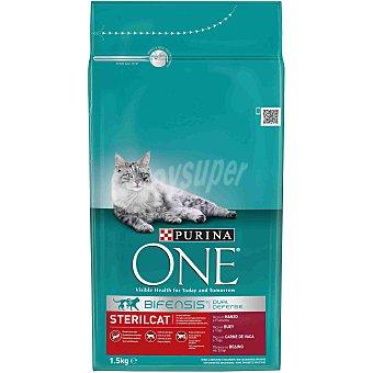 One Purina Comida para Gatos ESTERILIZADOS con Buey  1,5 kg