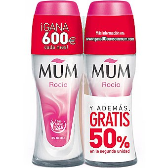 Mum Desodorante roll on Rocio sin alcohol pack 2 envase 50 ml ( pack especial 2ª unidad al 50% ) Pack 2 envase 50 ml