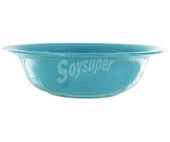 Auchan Ensaladera de 24 centímetros, fabricada en vidrio de color turquesa 1 Unidad