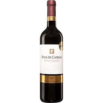 HOYA DE CADENAS Vino tinto tempranillo reserva D.O. Utiel Requena Botella 75 cl