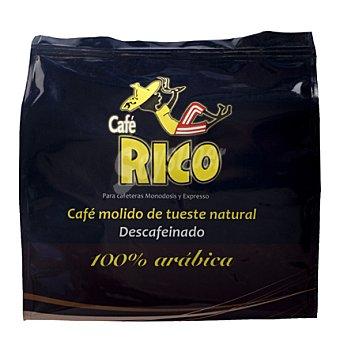 Rico Café molido de tueste natural descafeinado 100% arábica monodosis 16 ud