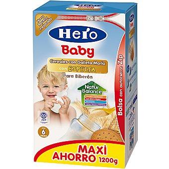HERO BABY cereales para biberón con galleta María con espelta +6 meses envase 1200 g