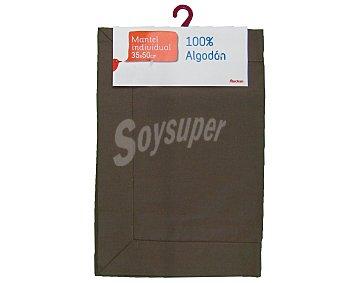 AUCHAN Mantel individual 100% algodón color marrón liso, 35x50 centímetros 1 Unidad