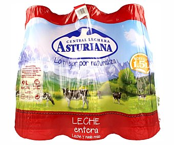 Central Lechera Asturiana Leche entera Pack 6 botellas x 1.5 l