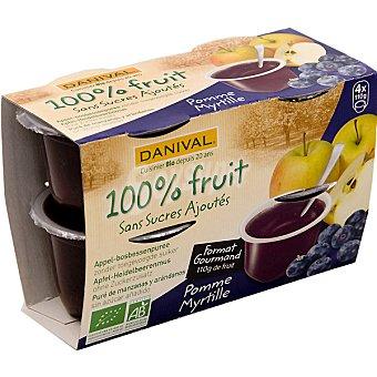 DANIVAL compota de manzana y arándanos ecológica envase 440 g pack 4x110g