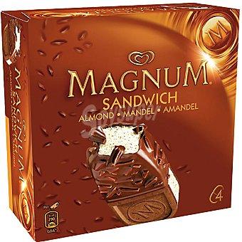 Magnum Frigo Helado de vainilla con chocolate, almendras y galletas Sandwich Almond 4 unidades estuche 560 ml 4 unidades