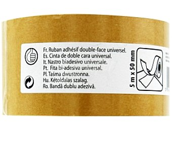 Productos Económicos Alcampo Cinta adhesiva de doble cara Universal 5 Metros x 50 Milimetros