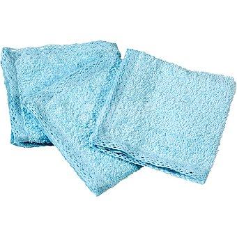 Dombi Set de 3 mini towels en color azul con puntilla