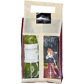 Campos Lote de conservas con atún claro en aceite de oliva extra tarro 150 g + mejillones en escabeche 8-12 piezas 2x80 g + vino blanco rueda Albacora botella 75 cl Tarro 150 g