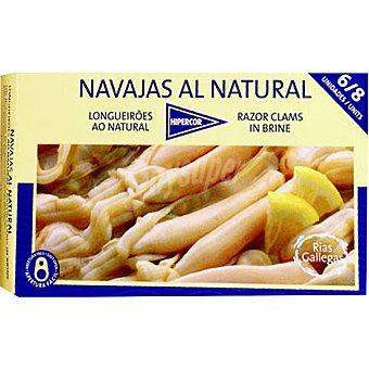 Hipercor Navajas al natural de las rías 6-8 piezas Lata 69 g neto escurrido