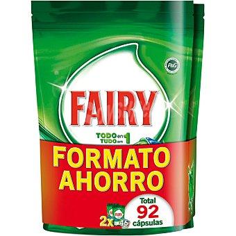 Fairy Detergente lavavajillas todo en 1 original pack ahorro 92 pastillas Pack 2 envase 46 pastillas